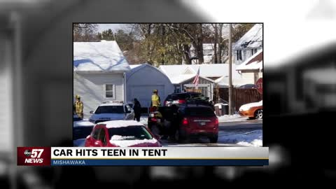 Car hits teen in backyard